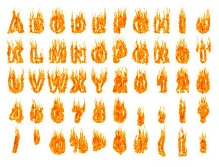 白い背景の上のアルファベット文字と数字の隔離されたシルエットを燃焼します。レンダリングされた 3 D イラスト