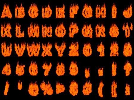 Brandende letters van het alfabet en cijfers geïsoleerd silhouetten op een zwarte achtergrond. Gesmolten 3D illustratie