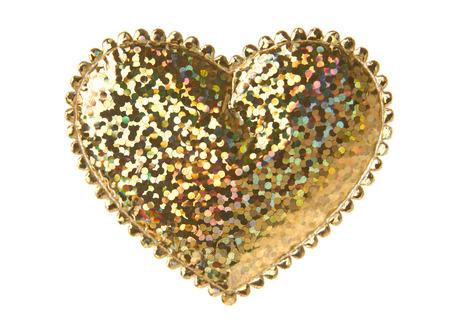 Shiny gold heart shape isolated on white background Stock fotó - 28793662