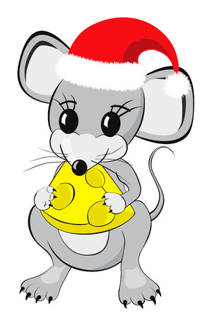Little mouse cartoon character in a red christmas hat eating a piece of cheese Isolated on white background