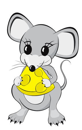 Little mouse cartoon character eating a piece of cheese Isolated on white background