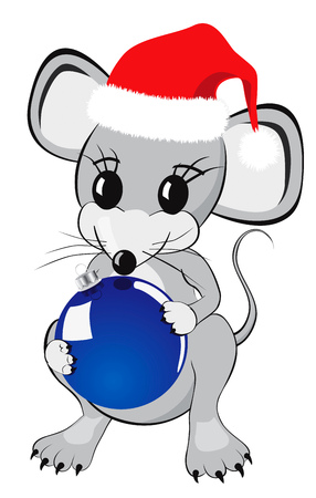 Little mouse cartoon character in a red christmas hat holding Christmas ornament Isolated on white background Stock Photo