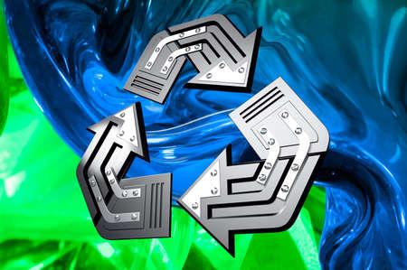 抽象的な緑青い背景 3 D の図に芸術的なリサイクル シンボル 写真素材