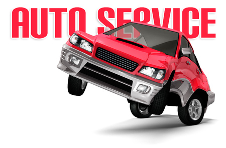 Auto Service conceptual illustration. Red car standing on rear wheels and facing the camera. Isolated on white background.