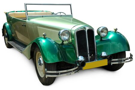 Classic green convertible vintage car isolated on white background with clipping path