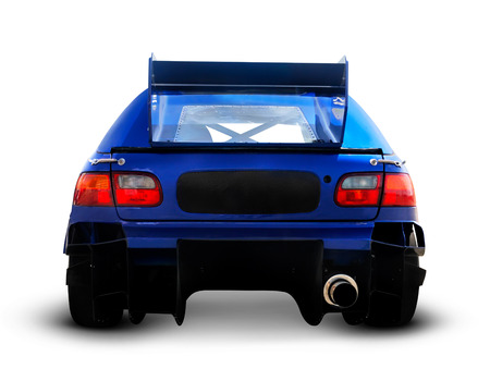 Blue race car close-up of back Isolated with clipping path on white background 版權商用圖片