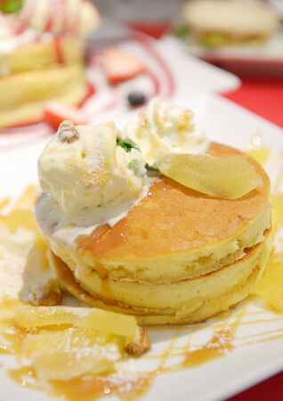 Pancakes with fruits and ice cream Banco de Imagens