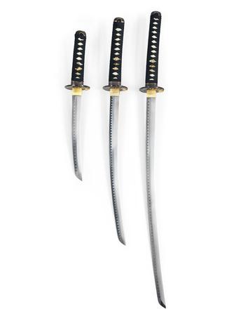 Three Japanese samurai swords, Katana, Wakizashi and Tanto, isolated on white background