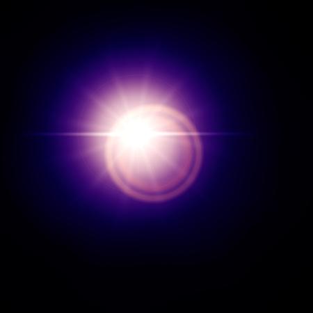 Blue lens flare effect, sun light flare isolated on black background