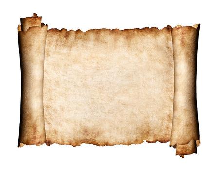 Manuscript, unfolded piece of parchment antique paper grungy texture background Standard-Bild