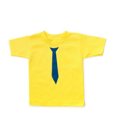 Cute yellow childrens t-shirt with necktie design isolated on white background
