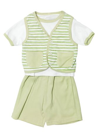 Baby boys green striped outfit, shirt, vest and shorts, clothing set isolated on white background with clipping path