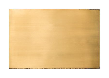 Shiny brass blank metal sign plate texture isolated on white background with clipping path