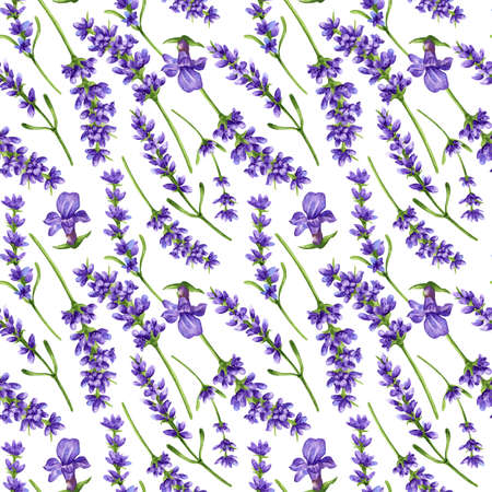 Watercolor seamless pattern in retro style with violet lavender flowers and leaves. Decorative floral background for a wedding or branding design in purple and green colors