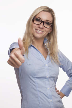 young Girl with Glasses and Thumbs up Standard-Bild