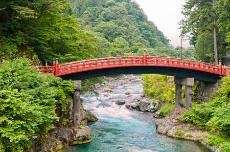 View of the Shinkyo bridge, Tochigi Prefecture, Nikko. Historic japanease bridge ranked as one of Japans three finest bridges. Sacred bridge at the entrance of Nikkos shrines and temples