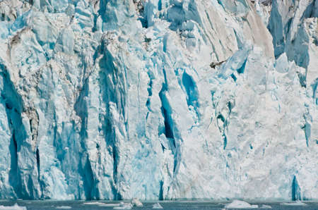 View of a glacier in the Alaskan fjords with floating ice blocks in the water. Ice wall background with blue shades. Global warming effect