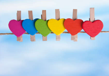 rainbow heart against the sky. LGBT ((Lesbian, Gay, Bisexual, Transgender) symbol, concepts Stock Photo