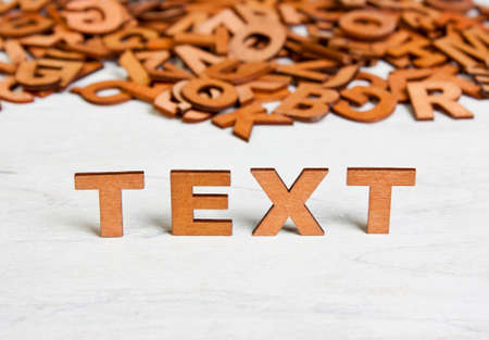 bookish: Word Text made with wooden letters on a background of other blurred letters Stock Photo