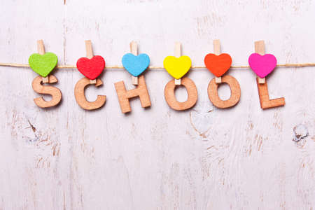 heart intelligence: the word school from the wooden letters on a white background old