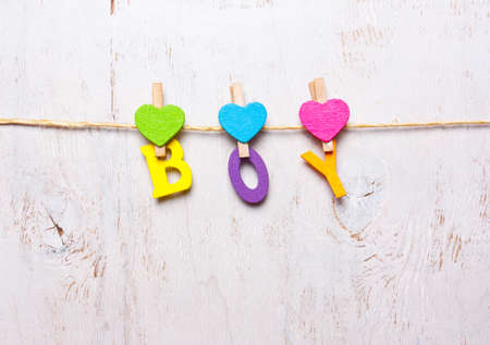 the word boy of the colored letters on a white background Stock Photo