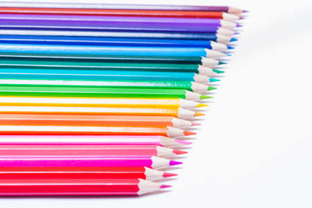 line of colored pencils white background, save clipping path