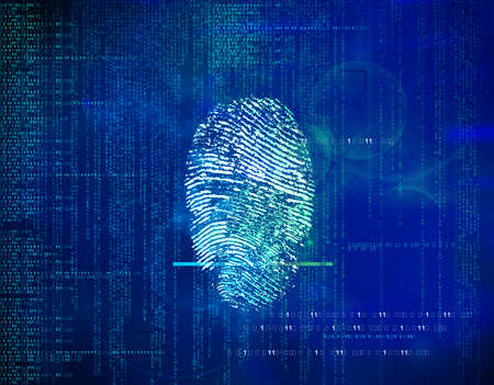 Abstract future background binary code and fingerprints. concept of security in  technology, information and Web address . Biometric identity control and approval. Banco de Imagens