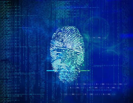 Abstrait futur code binaire et empreintes digitales. concept de sécurité dans la technologie, l'information et l'adresse Web. Contrôle et approbation de l'identité biométrique. Banque d'images - 93363011