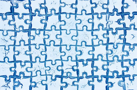 Background white blue from puzzles. concept of success finished challenge  Stock Photo