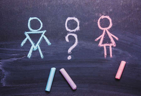 Figures of a man and a woman are drawn chalk on a blackboard. The concept , gender,transgender