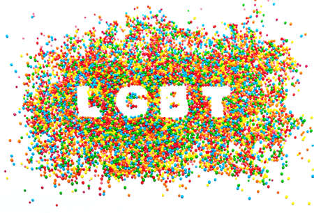 word LGBT from the balls of the colors of the rainbow. abstract background