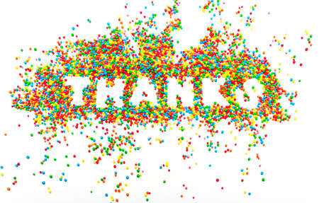 The word THANKS from colorful balls, abstract background