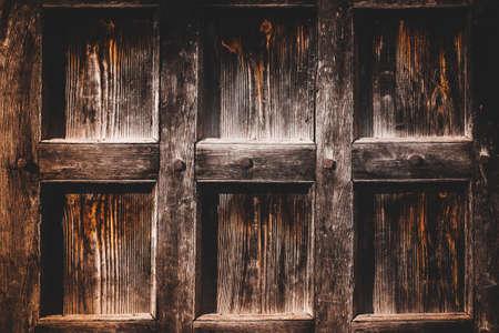 Old dark brown grunge natural vintage wooden background.Rustic doors Stock Photo