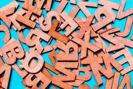 Background from wooden letters. Concept of education, ideas, logical thinking, creativity, school