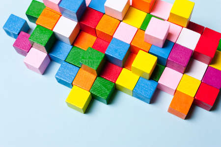 Color cubes in the puzzle. Concept creative, logical thinking, art,Creativity inspiration 写真素材