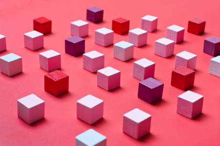 Color cubes, soft focus. Concept of creativity, art,thinking thinking in business. Abstract coral, geometric background Stok Fotoğraf