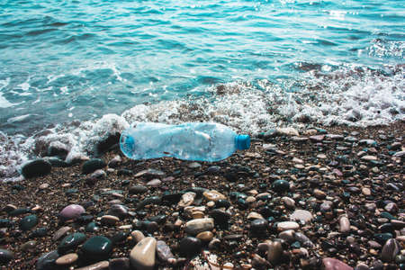 plastic bottle. Concept of pollution of the environment, ocean, sea, nature. Save the planet.zero waste