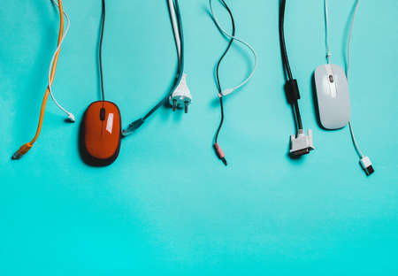 Used cords, cable, usb. The concept of pollution of ecology, nature. Reuse, Recycling Stock Photo