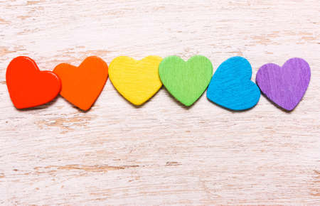 Hearts of rainbow colors on a white background. Symbol, LGBT flag Stockfoto