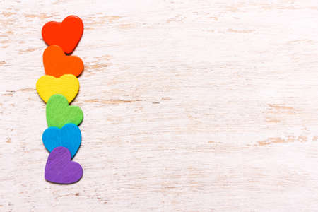 Hearts of rainbow colors on a white background. Symbol, LGBT flag Stock Photo