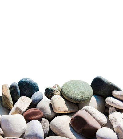 Marine naturally rounded gravel, pebbles. Nature white Background Texture.Close-up.Isolate