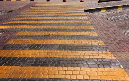 Black Yellow Crosswalk Pedestrian Crossing