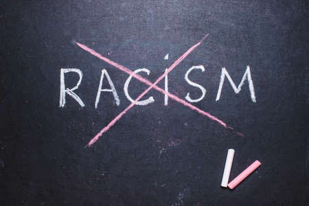 word Stop racism written on chalk board