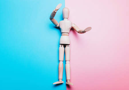 Concept of Finism, Gender. Mock up of man on pink and blue background Stock Photo