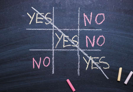 Words yes and no on chalk board. The concept of choice, decision, consent, denial