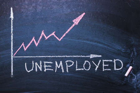 Word unemployed and unemployment schedule. Concept of hiring, new job, vacancy, crisis
