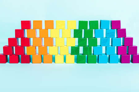 Background of rainbow colors, LGBT flag of cubes in a row