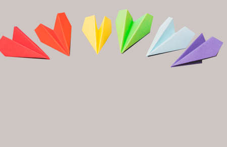 Paper airplanes colors of the rainbow color