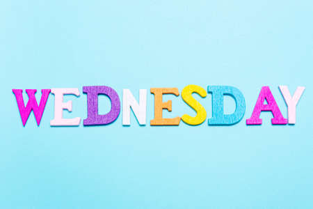 Word Wednesday in multicolored letters on a blue background