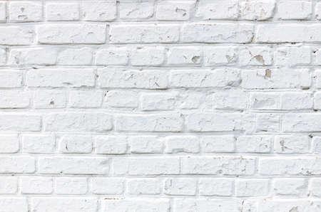 White grunge old brick wall. Close-up